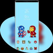 Hand drawing cartoon captain and iron-man theme icon