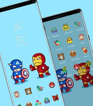 Hand drawing cartoon captain and iron-man theme screenshot 1