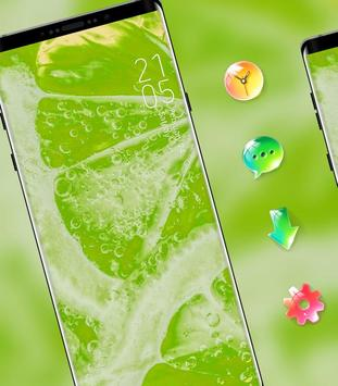 Nature bright fresh green lemon bubble theme poster
