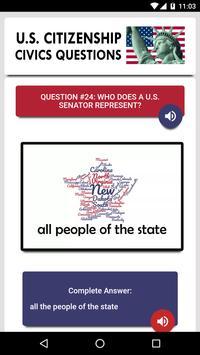 US Citizenship Test 2019 Audio - Free Exam Prep capture d'écran 2