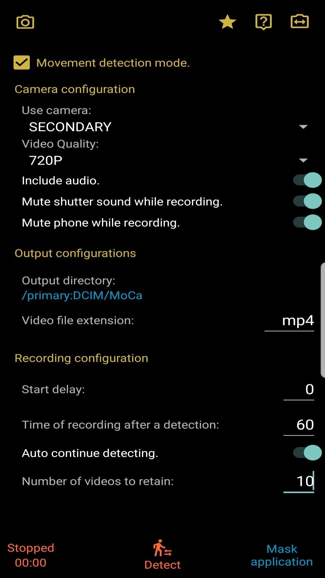MoCa - Motion Detection Camera and Dashcam FREE for Android