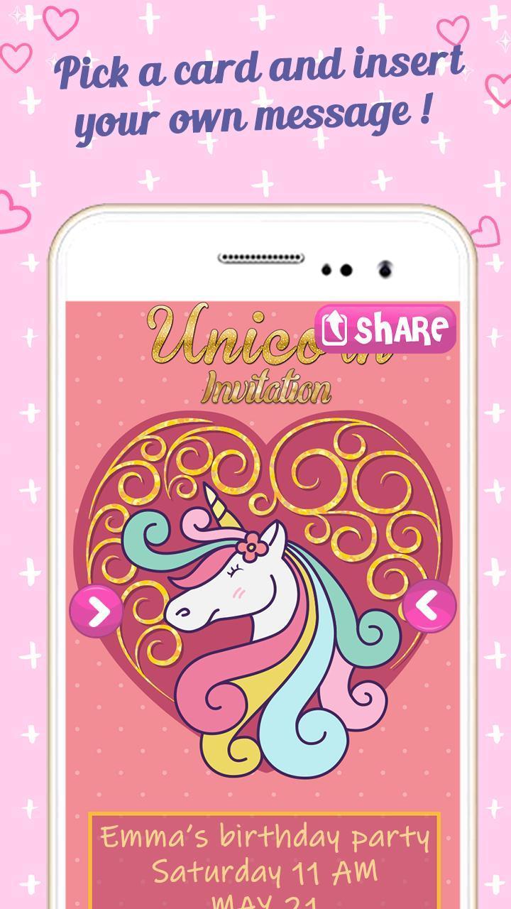 Editor De Tarjetas De Invitación Unicornio Gratis For