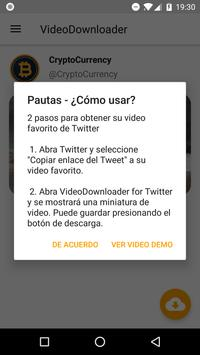 Video Downloader para Twitter captura de pantalla 1