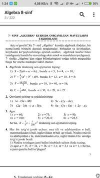 Algebra 8-sinf screenshot 3