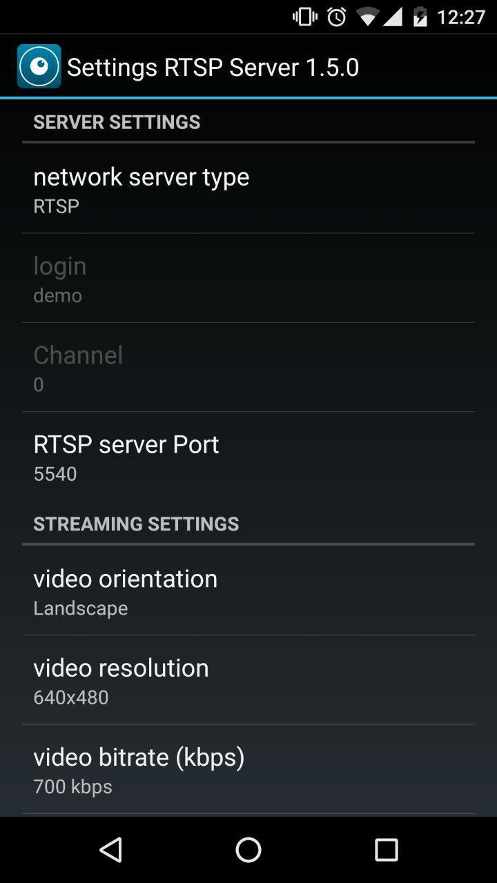 VXG RTSP Server (IP camera) for Android - APK Download